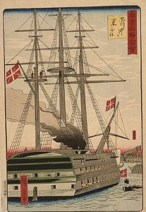 The arrival of Commodore Matthew C. Perry and his 'black ships' off the coast of Japan - 1850s